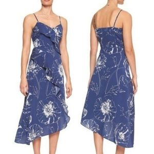 ❤ Banana Republic Ruffled Dress Blue Floral Size 6